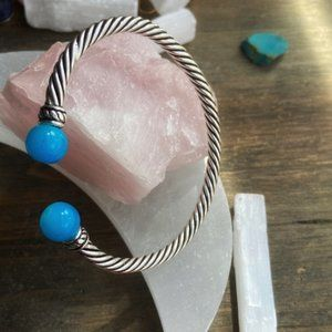 AQUA BLUE CHALCEDONY CABLE SILVER BRACELET CUFF
